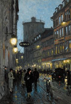 Paul Gustave Fischer (Danish, 1860-1934) Aftenstemning (Street in the evening). Oil on canvas, n/d.