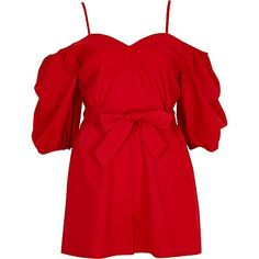 Red puff sleeve tie waist playsuit $80.00