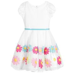 Girls pretty white dress by Monnalisa Bimba, with blue, green and pink embroidered flowers on the pleated, cotton voile skirt. It has an adjustable, shiny blue belt with a bow and the skirt is lined, with tulle frills for extra volume. The bodice is made in viscose jersey, with cotton voile puffed sleeves and a concealed zip fastener at the back.