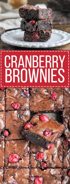 These Cranberry Brownies are made with dark chocolate, fresh and dried cranberries, and dark chocolate covered cranberries! If you love tangy cranberries, you'll love this unique brownie recipe.