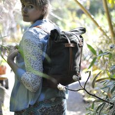 In the garden. Cistus Nursery on Sauvie Island.   Backpack tote: http://www.oroxleather.com/collections/bags-purses/products/backpack-tote-green-tan  #oroxleatherco #leather #family #tradition# handcrafted #madeinusa  #madeinpdx #portlandoregon #pdx #bag #tote #backpack #spring #cistus #cistusnursery