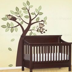 Add our very popular Tree with Monkeys to finish off your nature themed baby nursery. The cute and cuddly monkeys will always put a smile on your face. The hanging monkey, sleeping monkey and leaf dec