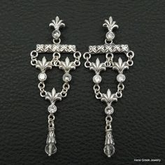 BIG RARE CUBIC ZIRCONIA BYZANTINE STYLE 925 STERLING SILVER GREEK ART EARRINGS #IreneGreekJewelry