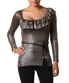 SEXY BROWN LUREX TRENDY L/S RUFFLED FITTED CLEAVAGE TOP W BRAIDED BELT GLAM TOP #JUSTME #Blouse #Clubwear