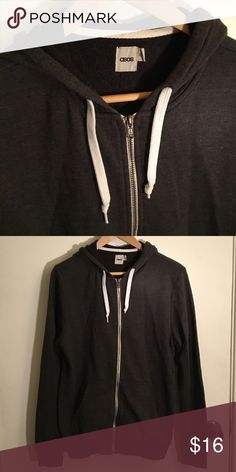 ASOS hoodie, like new, XS Designer: ASOS  Model: hoodie, hooded sweatshirt, zip up, zippered Size: Men's Extra Small  Color: dark gray  Condition: like new, no rips or stains, no signs of wear. ASOS Sweaters Zip Up
