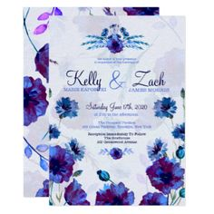 Peppy Poppies, Bachelor Buttons Wedding Invitation