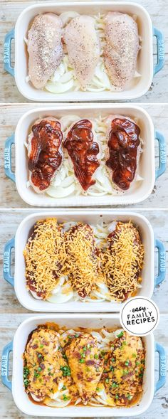 FAVE Family Dinner! Kid friendly and grown up approved, this easy chicken breast dinner is crowd pleaser! This Cheesy Bacon BBQ Chicken will remind you of your favorite smokehouse dish at Chilis! Made with tender chicken breast, topped with tangy BBQ sauce, then smothered in cheese and crispy crumbled bacon all baked right over sweet onions for the best one pan dinner recipe. Recipe Using Chicken, Yummy Chicken Recipes, Yum Yum Chicken, Bbq Chicken, Turkey Recipes, Healthy Chicken Casserole, Healthy Baked Chicken, Easy Healthy Meal Prep, Easy Healthy Recipes