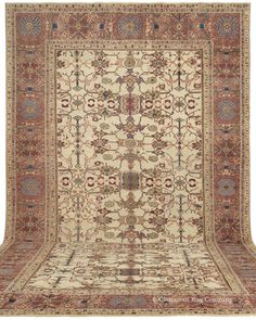 "Ziegler Sultanabad, 13ft 9in x 20ft 5in, Circa 1875.     Superb in both its artistry and craftsmanship, this over 135 year old palace size Persian village carpet belonging to the highly prized ""Ivory Sultanabad"" group possesses a sublime grandeur that is extraordinarily seldom seen, especially in antique carpets of this great scale.This monumental antique Persian carpet offers an otherwise never found design of deeply evocative motifs and warm natural hues including a rarely seen ivory…"