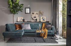 Hoekbank Crew links - Banken - Loods 5 Bedroom Bed Design, Home Room Design, Living Room Sofa, Living Room Decor, Wooden Sofa Designs, Door Design Interior, Living Room Inspiration, House Rooms, Furniture