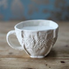 Clare Gage. Unique handmade gift. Porcelain Candle Cup. Lace candle cup design