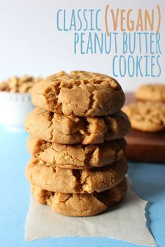 Thick, chewy, classic peanut butter cookies, in vegan form! These cookies have so much peanut-y flavour, you'd never be able to tell they're vegan! # vegan Desserts Classic Peanut Butter Cookies (V) - Sweet Like Cocoa Healthy Vegan Cookies, Cake Vegan, Vegan Treats, Vegan Foods, Vegan Dishes, Vegan Sugar Cookies, Dairy Free Cookies, Vegan Oatmeal Cookies, Vegan Truffles