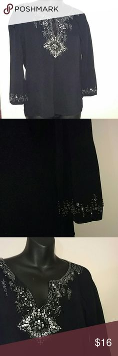 🎊🎉 New Years Eve Black silver sequin top Black silver sequin embellished top. Keyhole neckline or can be opened for v-neckline.  Three quarter sleeves. Excellent condition.  Perfect for upcoming holiday events. Joseph A Tops