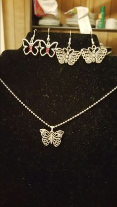 Silver Butterfly Necklace Set  Your choice of one of the earrings with the necklace $15  Earrings are $8  beautyby.dani@yahoo.com  937-901-1154