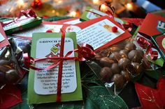 """Grinch Pills and Reindeer Poop. LOVE the reindeer poop, but Grinch is cute too. Using gum for the Grinch """"pills"""" is very clever (and less work than the Tic Tac version)!"""