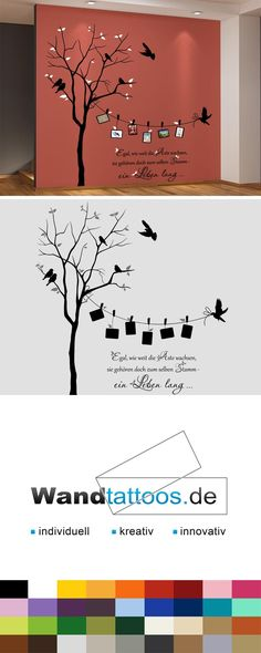 Wandtattoo Zweifarbiger Baum mit Fotorahmen Wall Decal Two-colored tree with photo frame and saying as an idea for individual wall design. Simply select your favorite color and size. More creative suggestions from Wandtattoos.de discover here!