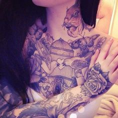 Awesome chest piece on this girl. #tattoo #tattoos #ink