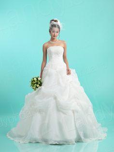 ウェディングドレス Aライン  チャーペルトレーン オーガンジー ブライダル 結婚式 ウェディング JP0108