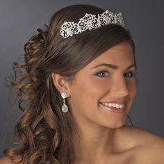 Elaborate Silver Plated Rhinestone Royal Wedding Tiara