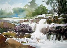 Watercolor Water, Watercolor Landscape, Watercolour Painting, Sketch Painting, Sea And Ocean, Watercolor Portraits, Chinese Painting, Heaven, Sketches