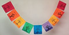 """Tree of Life 2 Prayer Flag. All proceeds to families in Mexico. Free domestic shipping. We can enclose a gift note. This is our second version with the theme of the Tree of Life, with emphasis on the infinite cycles of life. This prayer flag also contains the quote, """"The opposite of life is not death. The opposite of death is birth. Life has no opposite."""" Eckhart Tolle The images on this prayer flag are block-printed and stamped by hand on each bright panel. These prayer flags are made in…"""
