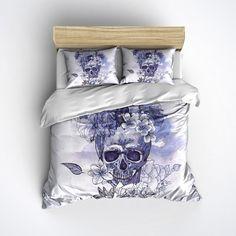 Fleece Skull Bedding - Vintage look Skull and Flower Print Comforter Cover - Sugar Skull Duvet Cover, Sugar Skull Bedding Set