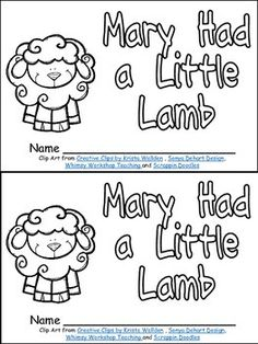 Mary Had A Little Lamb Packet Contents Include Black And White More Information Printable