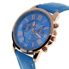 Geneva Roman Numerals Leather Analog Quartz