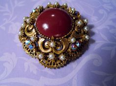 Vintage Signed Florenza Brooch Pendant Ornate Cinnabar Cabochon Tiny Pearls & AB #Florenza