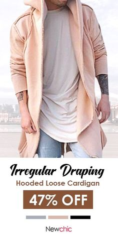 f19b76d5 ChArmkpR Mens Fashion Irregular Hem Draping Solid Color Long Hooded Loose  Fit Cardigan is cheap and designer, see other on NewChic.