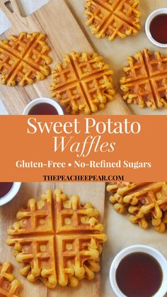 These Sweet Potato Waffles are the most amazing waffles you will ever have. They are so warm, fluffy and delicious. Plus they're gluten-free, refined-sugar free and no one will ever know they're made Healthy Waffles, Gluten Free Waffles, Sugar Free Waffles, Vegan Burrito, Breakfast Recipes, Breakfast Time, Sugar Free Breakfast, Pancake Recipes, Breakfast Sandwiches