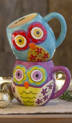 Our fun little owl mugs make the holiday hot chocolates a little happier! FOR MY TEA! These are a hoot! Ha ha.