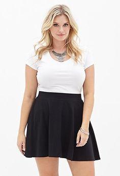 Solid Knit Skater Skirt | FOREVER21 PLUS - 2000084940