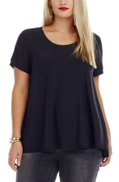Pleat Back Top - Black Heavy weight Jersey Top. This stunning Top has a Jersey fabric body and sleeves with a Knife Pleat sun ray back made in Georgette fabric. This Top has a round Neckline and set in Short sleeves.  #dreamdiva #dreamdivafiles #fashion #plussize