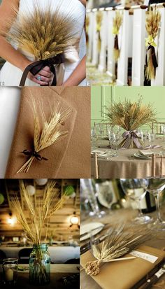 Wheat wedding ideas may include bouquets, centerpieces, and other unique decor.