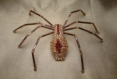 Handmade Glass Bead Amber Spider Barrette for Halloween or Christmas  Decoration Ornament Jewelry Art Suncatcher Gothic Gift Drag Queen. $12.99, via Etsy.
