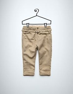 herringbone trousers with frill - Trousers - Baby girl (3-36 months) - Kids - ZARA Canada