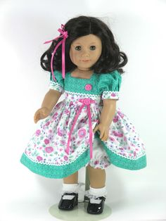 American Girl 18 inch Doll Clothes - Dress, Bloomers, Hair Ribbon - Rose Pink, Green Floral