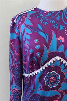 RETRO Floral GYPSY 70s Vintage Festival Boho Scarf PURPLE MAXI Dress  S to M