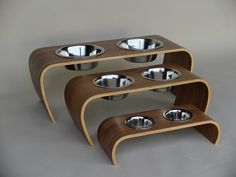 Raised Dog and Cat Feeder in Walnut, 3 Different Sizes, Supplied With Bowls, Handmade Bent Plywood, Pet Dining Table, Feeding Stand