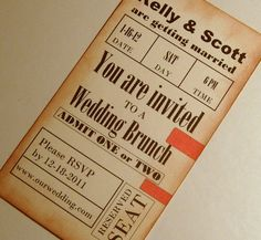 vintage game ticket invitation rustic baseball by 0namesleft, $30.00