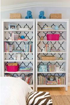 Cute DIY for refreshing old bookshelves