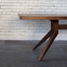 Solid Walnut Dining Table with Angled Legs by CroftHouseLA on Etsy
