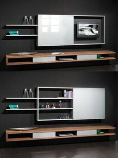 Clever Ways to Hide Your Television - The Architects Diary- Angeles Crespo Cuellar Living Room Tv, Home And Living, Living Spaces, Tv Wall Design, Tv Unit Design, Tv Escondida, Hidden Tv Cabinet, Tv Furniture, Tv In Bedroom