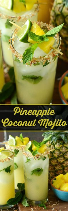 Pineapple Coconut Mojito: the classic mint mojito is remixed with another tropical favorite, the piña colada, to create the ultimate fresh summer rum cocktail! Pineapple Coconut Mojito: the Rum Cocktails, Summer Cocktails, Cocktail Drinks, Cocktail Recipes, Summer Beverages, Popular Cocktails, Classic Cocktails, Coconut Mojito, Mint Mojito