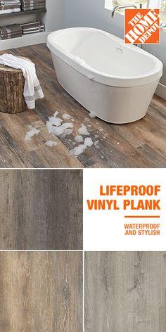 LifeProof - Vinyl Plank Flooring - Vinyl Flooring & Resilient Flooring - The Home Depot Bathroom Vinyl, Bathroom Flooring, Home Remodeling Diy, Home Renovation, Lifeproof Vinyl Flooring, Waterproof Flooring, Vinyl Plank Flooring, Floor Colors, Luxury Vinyl Plank