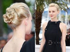 O penteado de Carey Mulligan pede cabelos mais finos, mas pode ser usado por várias mulheres. Ao mesmo tempo clássico e moderno, o coque mais baixo remete aos anos 50