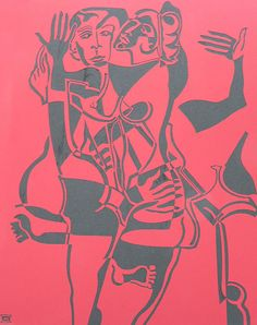 Rapture by Melissa Bates. Visit www.visualemporium.com.au to see more of Melissa's art. #art #artist #creative #expression #cubism #cardboardcutout #stencilart #nudefigures #nudeembrace