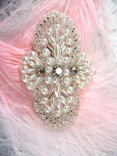 FS04 Silver Pearl Beaded Rhinestone Applique 2.75 by gloryshouse 931ead651478