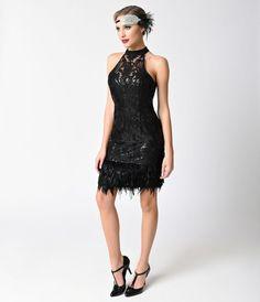 Vintage Style Black Sequin & Feather Sleeveless Halter Short Flapper Dress