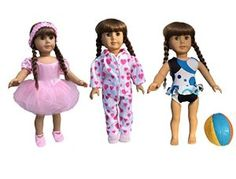 american girl doll colthes ballet set from instyle features the ballerina in pink and includes the ballet shoes, swim suit with beach ball and warm fuzzy pj's the quality is outstanding!